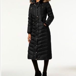 Michael Kors faux fur hooded maxi down puffer coat